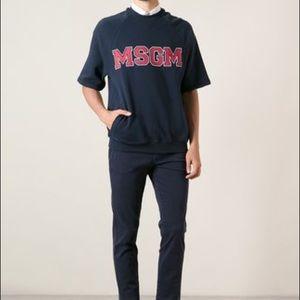MSGM Other - MSGM Varsity Short Sleeve Cotton Sweatshirt Navy