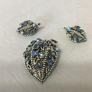 Vintage Blue Rhinestone Pin & Earring Set
