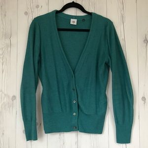 CAbi Sweaters - Cabi Tearoom Cardigan Teal w/ Removable Fur Collar