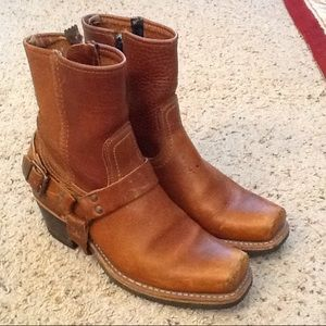 Frye Shoes - FRYE HARNESS BROWN LEATHER WESTERN COWBOY BOOTS