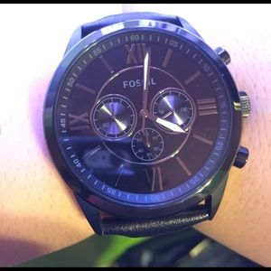 Fossil Other - Men's black fossil leather strap watch.