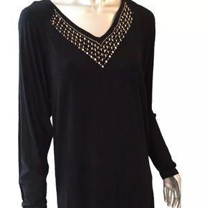 Michael Kors Black Knit Tunic Top NWT $130 S