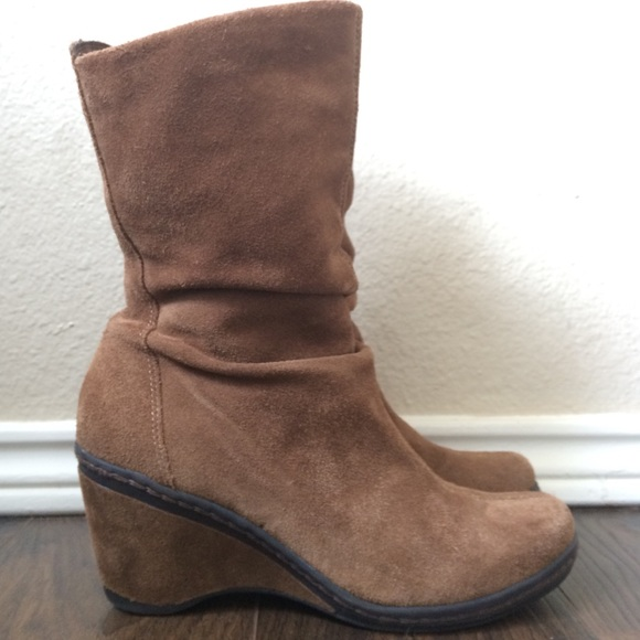 discount collection enjoy bottom price authentic Suede wedge strictly comfort mid calf boots