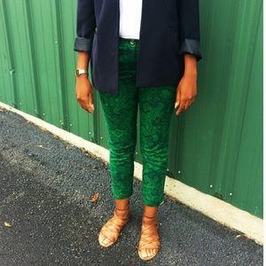 Michael Kors Paisley Pants Green Navy
