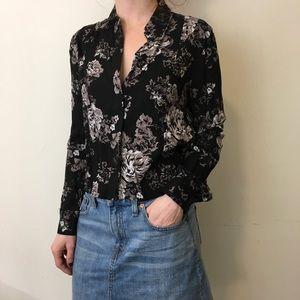 Aritzia Tops - Talula Black Cropped Floral Button Down Shirt