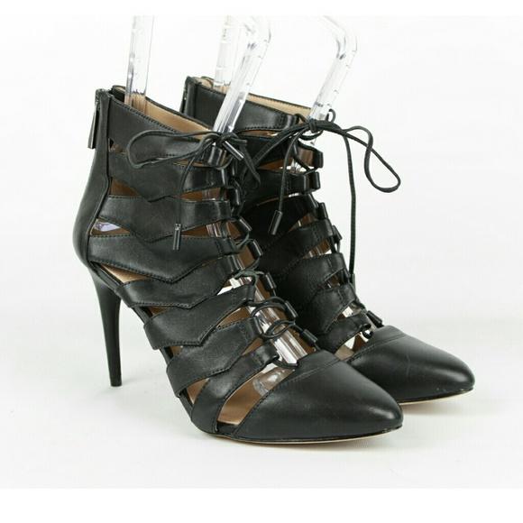 dabfe4857e08 BCBGMaxAzria Shoes - BCBGMAXAZRIA Bren Lace Up Leather Pump Booties
