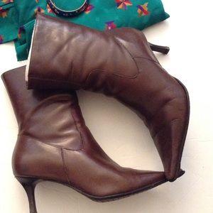 Diba Shoes - DIBA BROWN LEATHER BOOTS -BRAZIL 6 1/2