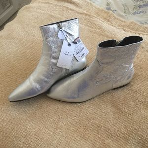 NWT ZARA SILVER LEATHER ANKLE BOOTS