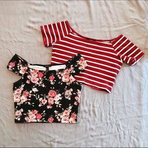 printed wide-neck crop tops