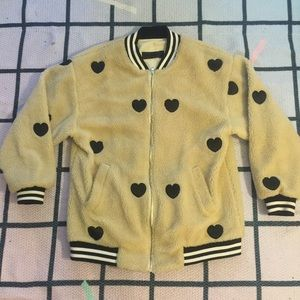 Jackets & Blazers - STYLENANDA SHEARLING HEART VARISTY BOMBER