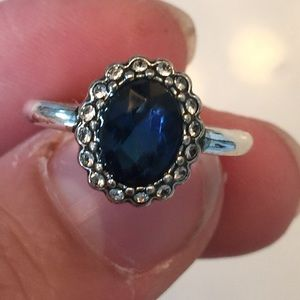 Jewelry - New silver plated ring & blue stone size 7-8