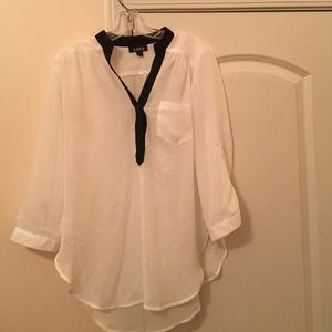 A. Byer Tops - Sheer white top with black collar