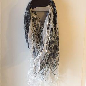 Accessories - Grey Frayed Fashion Wrap Scarf