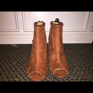 Brown open toed booties size 8