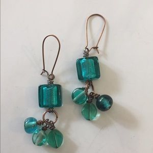 Jewelry - Copper dangles,  wire wrapped teal glass beads