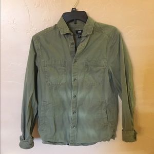 H&m army green button down