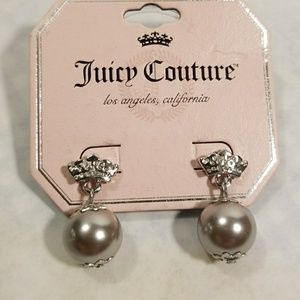 Juicy Couture Faux Gray Pearl & Crown Earrings