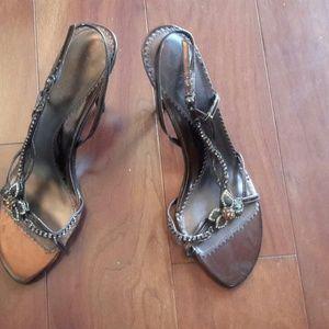 Two Lips Shoes - Two Lips  Bronze Crystal Embellished Heels,Sz10