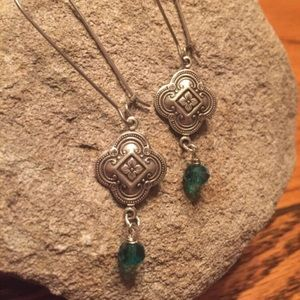 Jewelry - Silver tone dangles, wire wrapped teal beads
