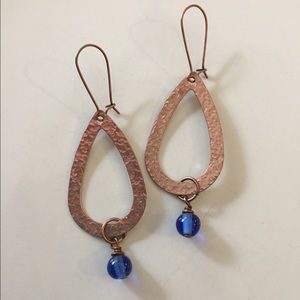 Jewelry - Copper tone earrings, wire wrapped blue beads