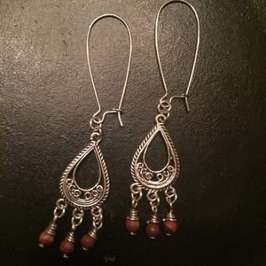 Jewelry - Silver tone dangle, wire wrapped maroon beads
