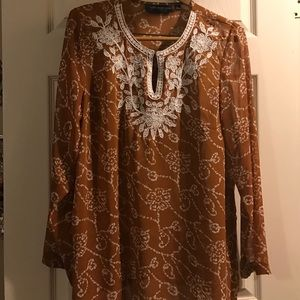 Susan Graves sheer polyester embroidered  tunic