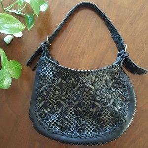 Carla Mancini Handbags - Carla Mancini Black and Cream Leather Hobo Bag