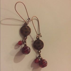 Jewelry - Cute copper dangles with red beads