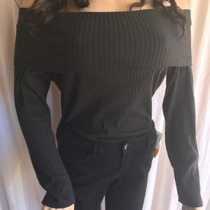 Bluebelle Tops - LS1161-Bardot black off the shoulder blouse