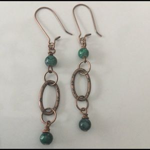 Jewelry - Long copper dangles, wire wrapped dark green beads