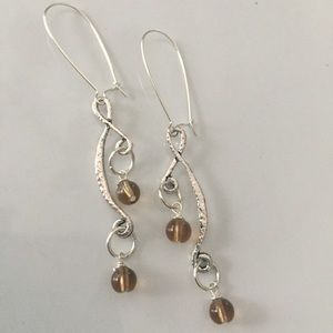 Jewelry - Silver tone dangles, translucent brown beads