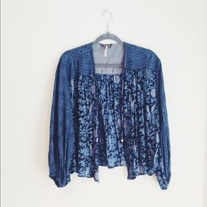 Free People Blue Open Front Shawl/cardigan