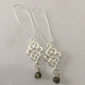 Jewelry - Silver plated stainless steel hooks, green beads