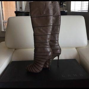 L.A.M.B. Shoes - Barrett taupe boots by L.A.M.B