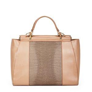 Taupe/Blush top-handle embossed detail handbag
