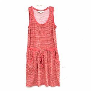 LOFT Ann Taylor Red and White Striped Pocket Dress