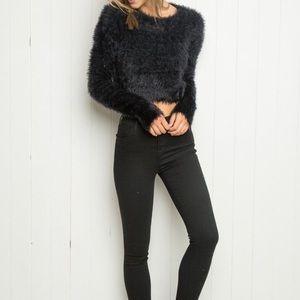 Fuzzy Black Crop Sweater