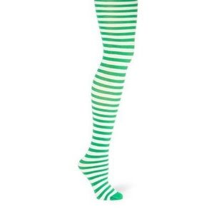 NEW St Patrick's Green and White Striped Tights