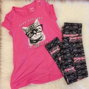Justice Other - Justice Studious Kitty In Glasses Top & Leggings 8