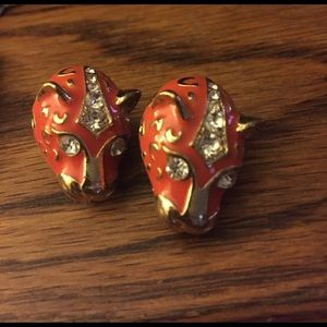 Jewelry - Tiger face orange and Gold pendant earrings!