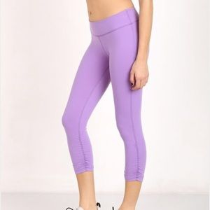 Beyond Yoga Pants - Beyond Yoga Purple Side Gathered Crops