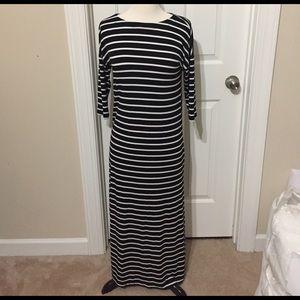 Loft black and white stripe dress