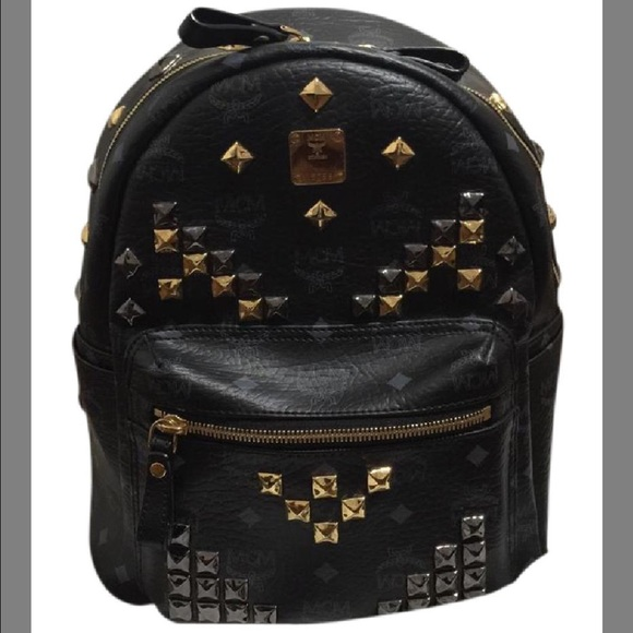 bae17ed58 MCM Small Studded Stark Backpack Black/Gold. M_58afdc37c2845674d201782c