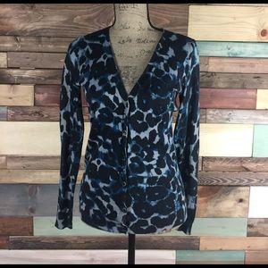 Ann Taylor Sweaters - Ann Taylor Blue / Black Animal Print V-Neck Cardi