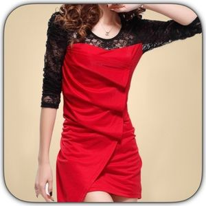 Boutique Dresses & Skirts - NWT Fabulous Sexy Red/Black Layered Lace Dress