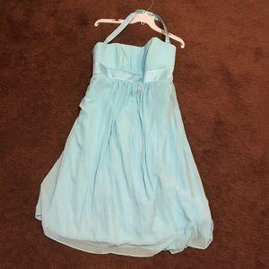 Brides Maid Knee Length Tiffany Blue Dress