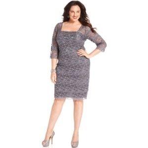 Onyx Dresses & Skirts - Gray lace short sleeve body con dress never worn