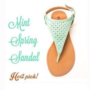 Mint t-strap faux leather spring sandals