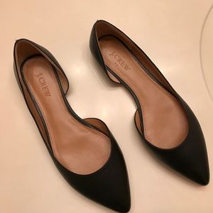 J. Crew Shoes - J. Crew Fact Blk Leather Point D'Orsay Flats Sz 8