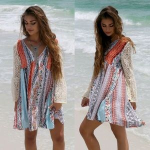 🆕RYLAND printed dress w/ boho sleeves -ORANGE